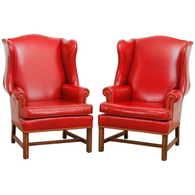 Pair of Georgian Style Red Leather Wingback Library Chairs