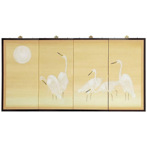 Japanese Four Panel Screen of White Cranes and Moon