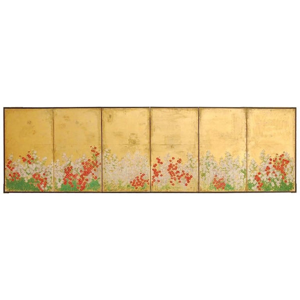 Japanese Six Panel Gold Leaf Byobu Screen