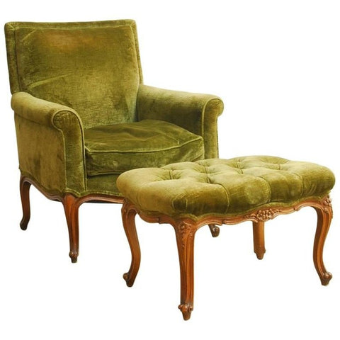 19th Century French Velvet Library Chair with Ottoman