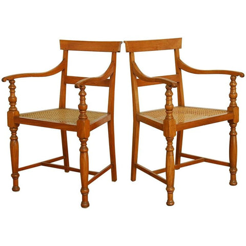Pair of Regency Style Anglo-Indian Colonial Armchairs