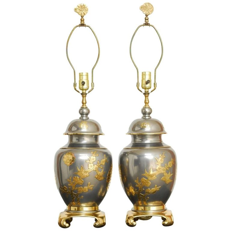 Pair of Chinese Pewter and Brass Ginger Jar Lamps