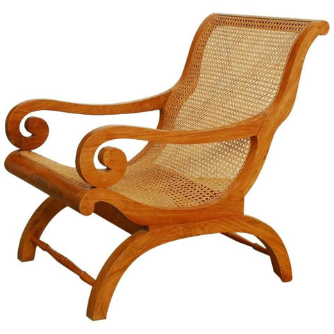 Anglo-Indian Teak and Cane Plantation Chair