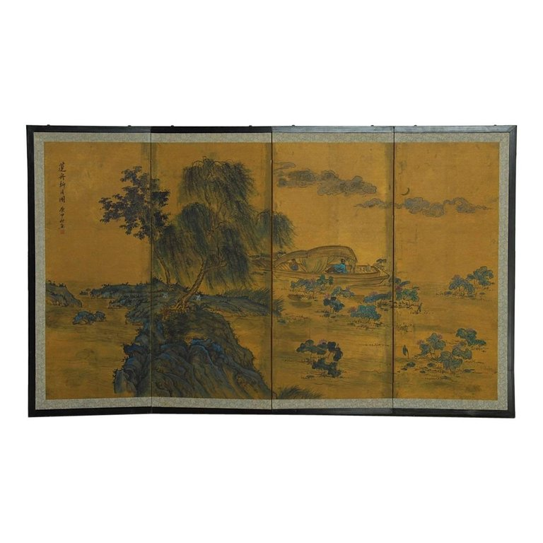Japanese Kano School Style Four Panel Landscape Screen