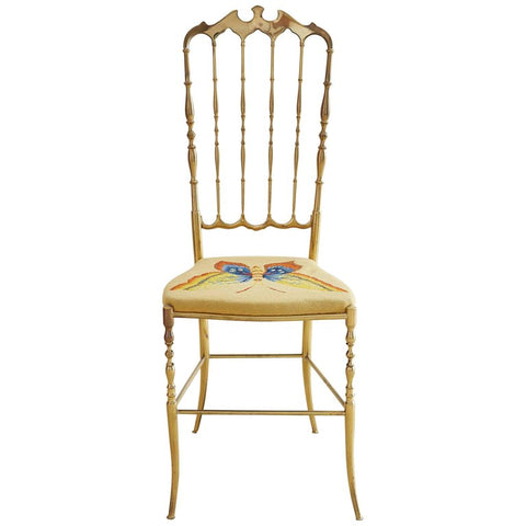 Italian Brass Chiavari Chair with Needlepoint Butterfly