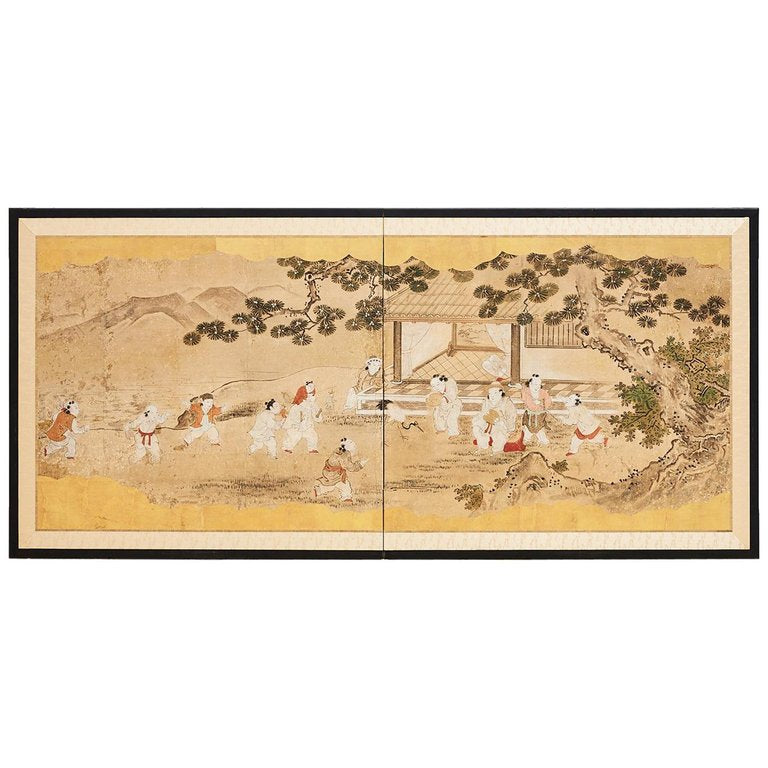 Japanese Two-Panel Kano School Screen