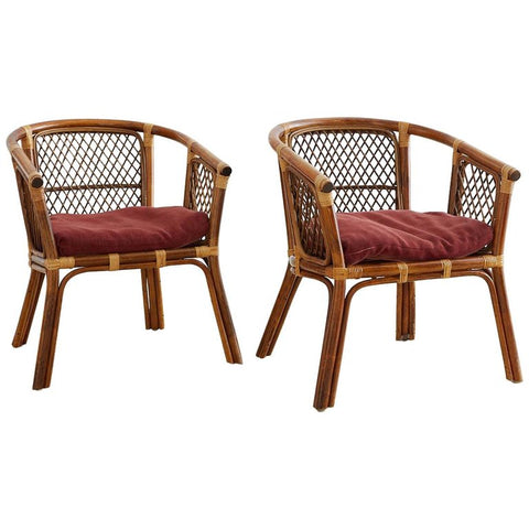 Mid-century Bamboo Rattan Barrel Chairs