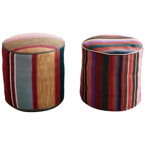 Turkish Kilim Pouf Ottomans