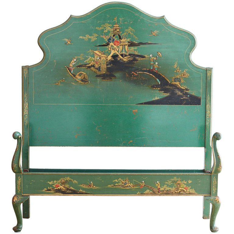 English Chinoiserie Lacquered Headboard and Footboard