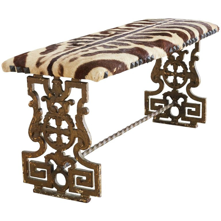 Neoclassical Cast Iron Vanity Bench with Zebra Hide