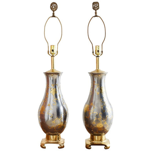 Pair of Chinese Pewter and Brass Vase Table Lamps