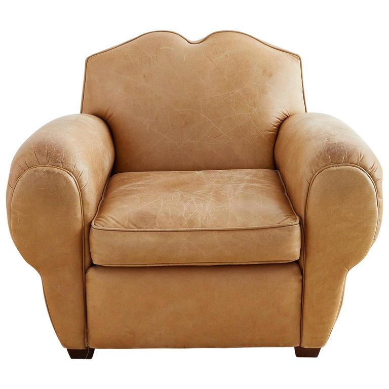 French Art Deco Style Moustache Leather Club Chair Erin Lane Estate
