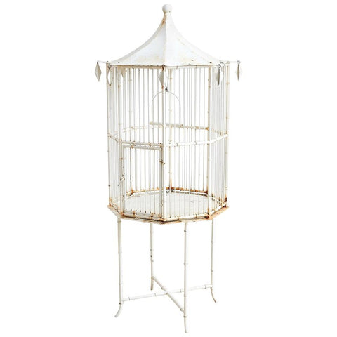 Chinoiserie Faux Bamboo Bird Cage