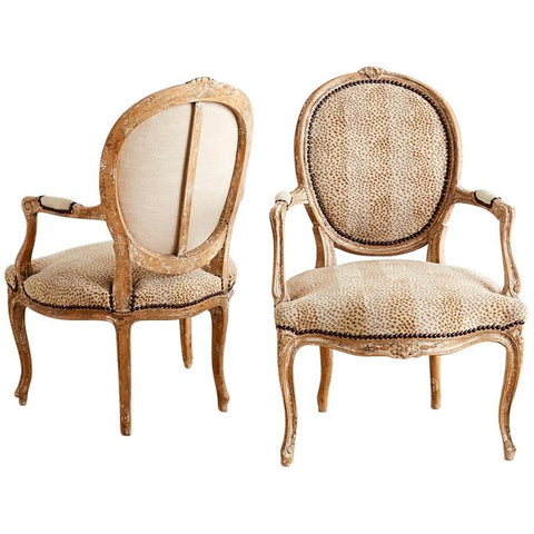 French Louis XV Upholstered Fauteuils