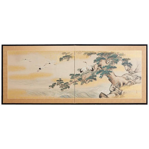 Japanese Two-Panel Screen Cranes and Pine