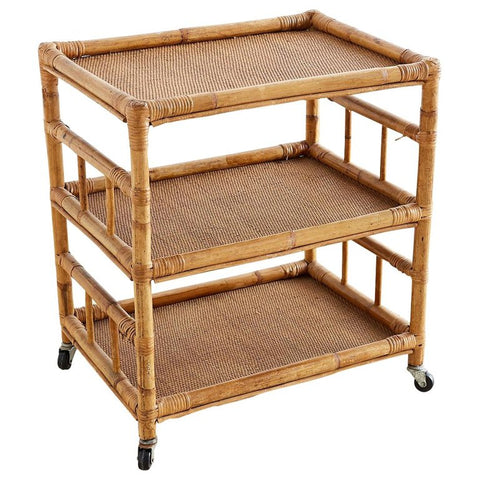 Bamboo and Raffia Rolling Three-Tier Serving Cart