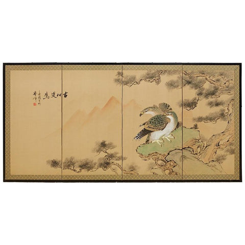 Japanese Screen of Hawks in Pine Tree