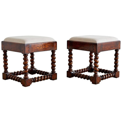 English Style Oak Barley Twist Footstools
