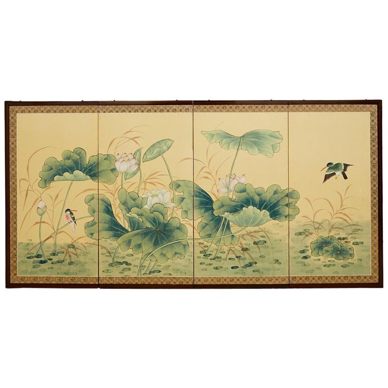 Asian Four Panel Screen of Flora and Fauna