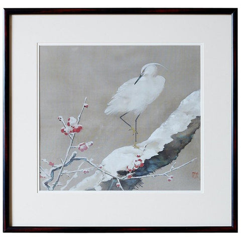 Japanese Showa Period Egret Painting by Miyata Yodo