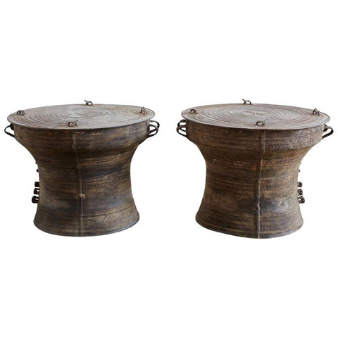 Pair of Southeast Asian Bronze Rain Drum Tables