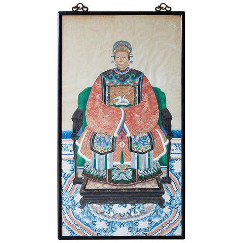 Chinese Ancestor Matriarch Scroll Portrait Painting