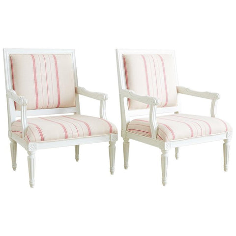 Louis XVI Style Painted Fauteuil Armchairs