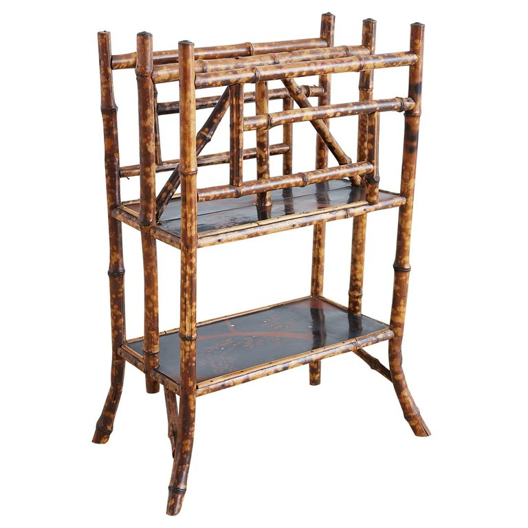English Chinoiserie Bamboo Canterbury Magazine Stand