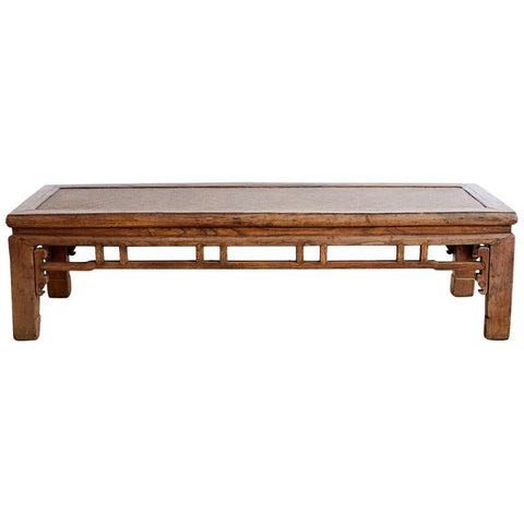 Chinese Hardwood Bench Coffee Table with Raffia Seat