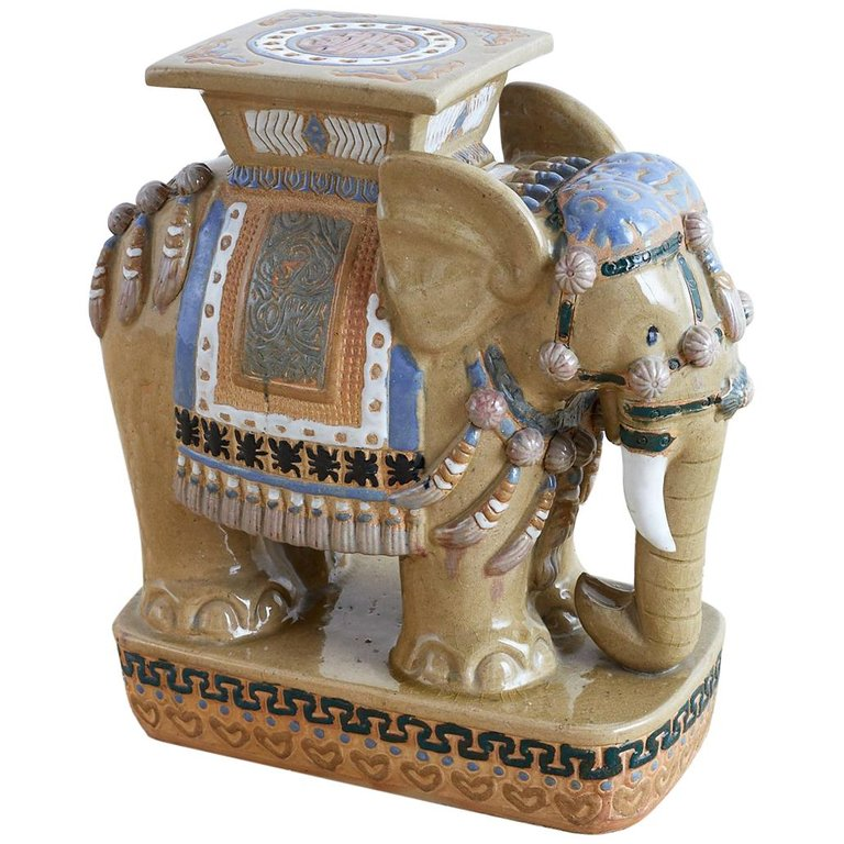 Chinese Ceramic Elephant Garden Stool or Drink Table