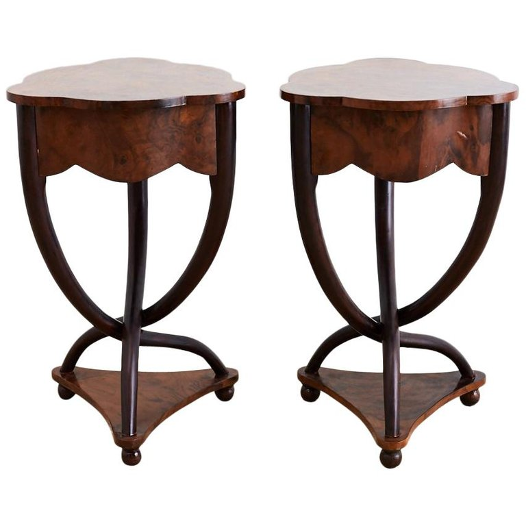 Biedermeier Bent Leg Burl Wood Tables