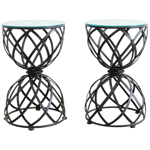 Woven Iron Basket Design Drinks Tables