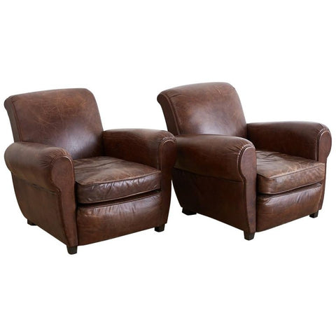 French Art Deco Style Cigar Leather Club Chairs