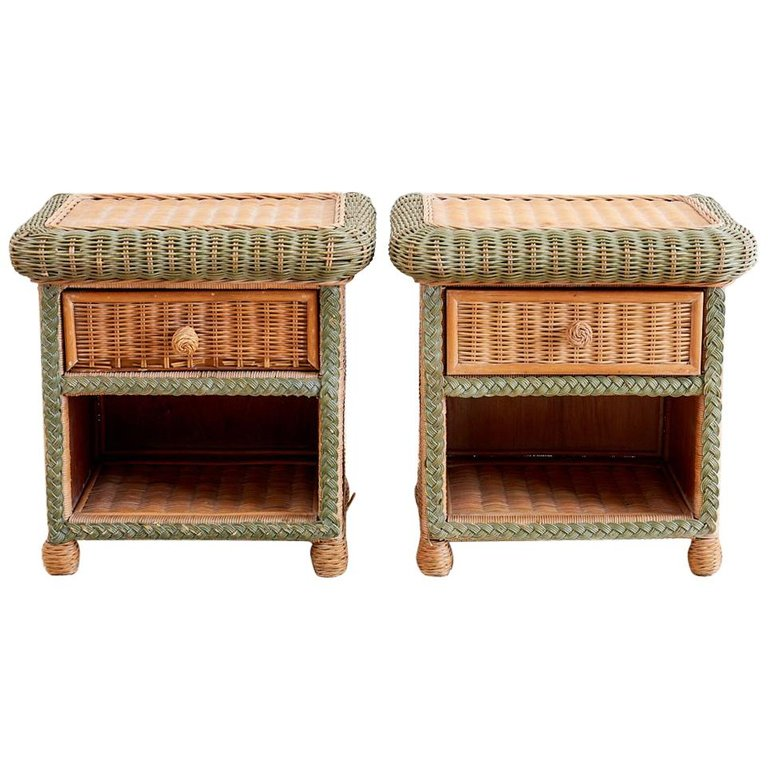 Grange French Wicker Nightstands