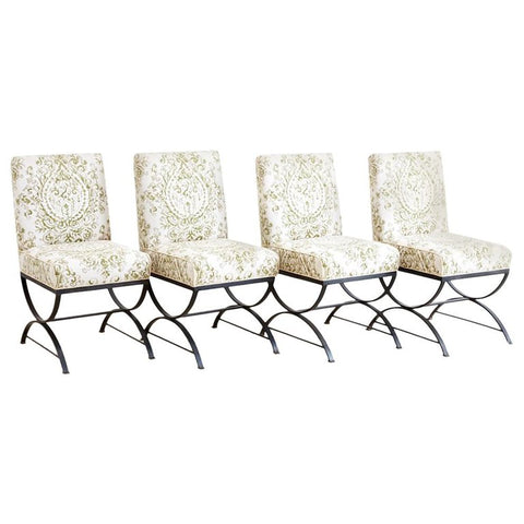 Curule Base Wrought Iron Dining Chairs