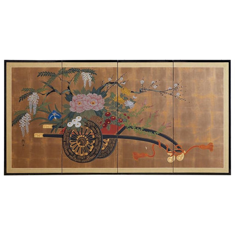 Japanese Floral Byobu Screen