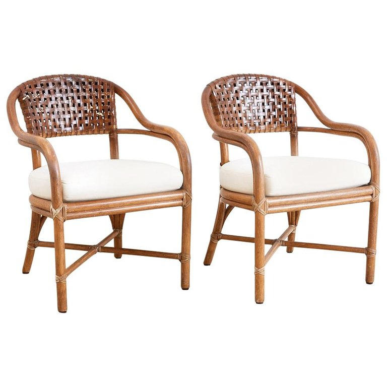 Pair of McGuire Bamboo and Woven Leather Armchairs