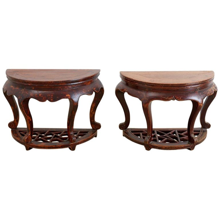 Pair of Chinese Hardwood Carved Demilune Tables
