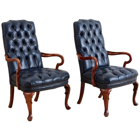 Regency Style Tufted Blue Library Chairs