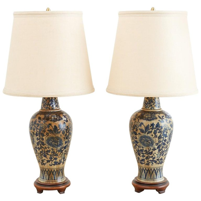 Chinoiserie Blue and White Lamps by Marbro