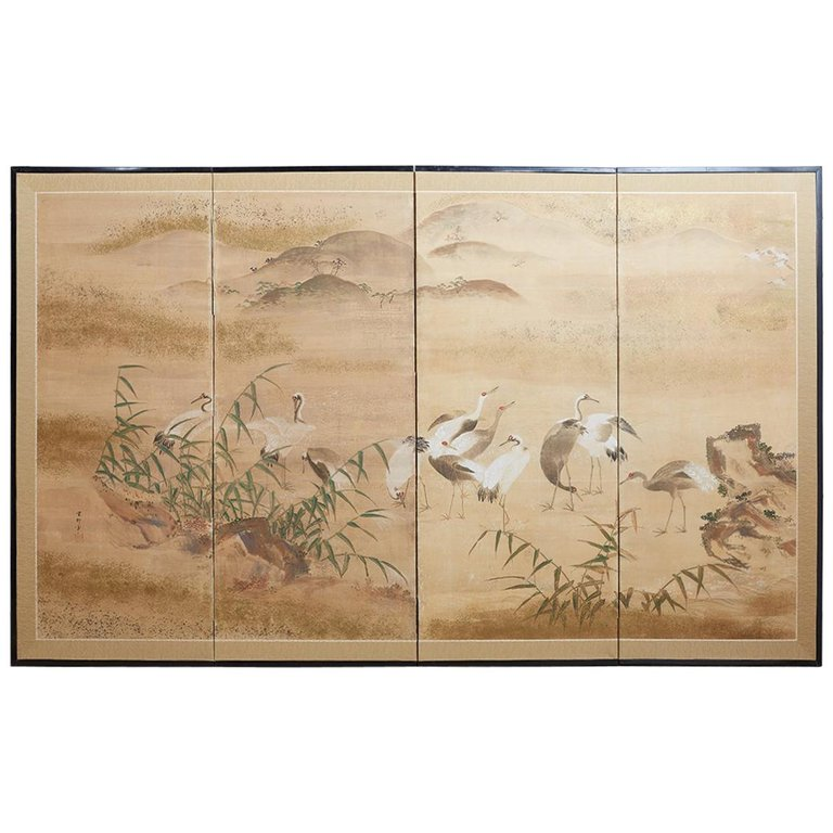 Japanese Meiji Period Screen of Red-Crowned Cranes
