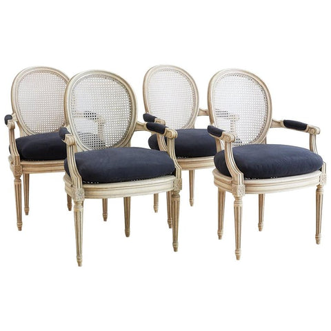 Set of Four French Cane Dining Chairs