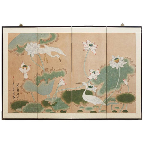Japanese Cranes and Lotus Blossom Byobu Screen