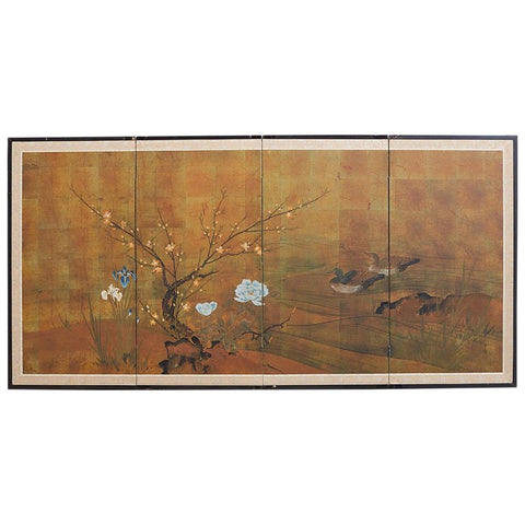 Japanese Four-Panel Screen of Ducks and Flowers