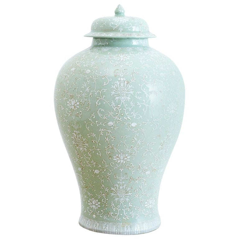 Monumental Celadon Ginger Jar with Moriage Decoration