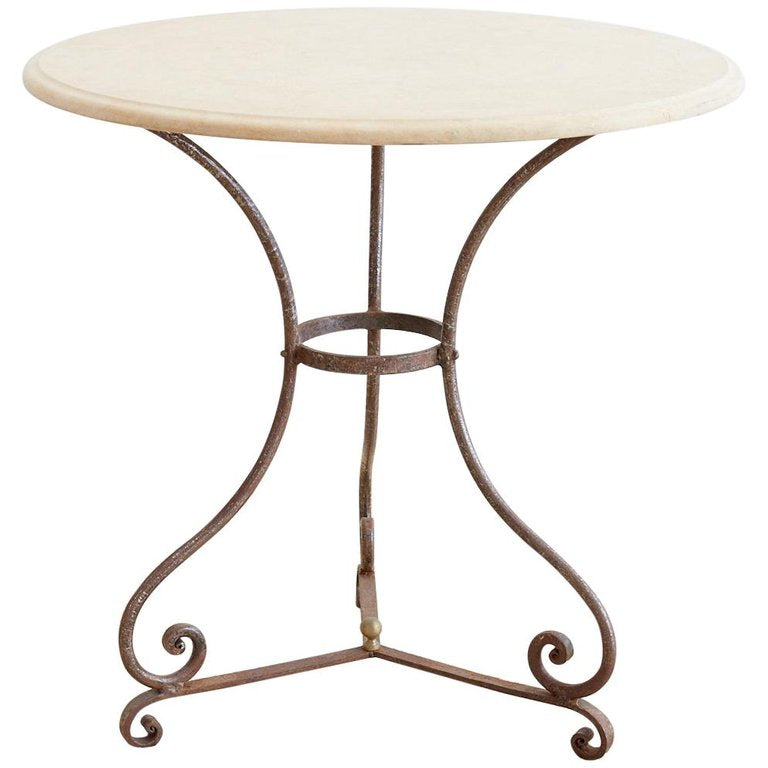 French Style Stone Top Bistro or Cafe Table