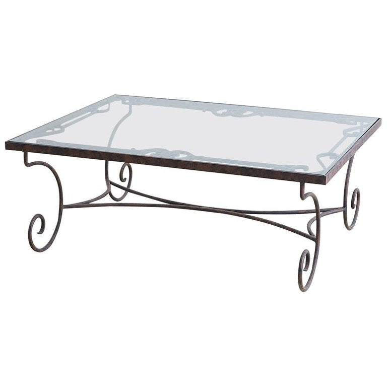 Spanish Style Wrought Iron and Glass Coffee Table