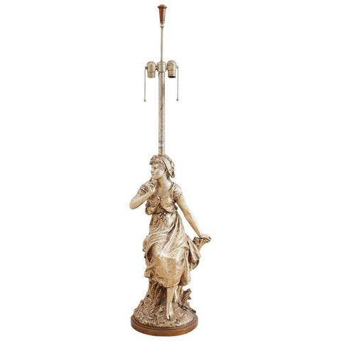 Marbro Hollywood Regency Silver Gilt Figural Lamp