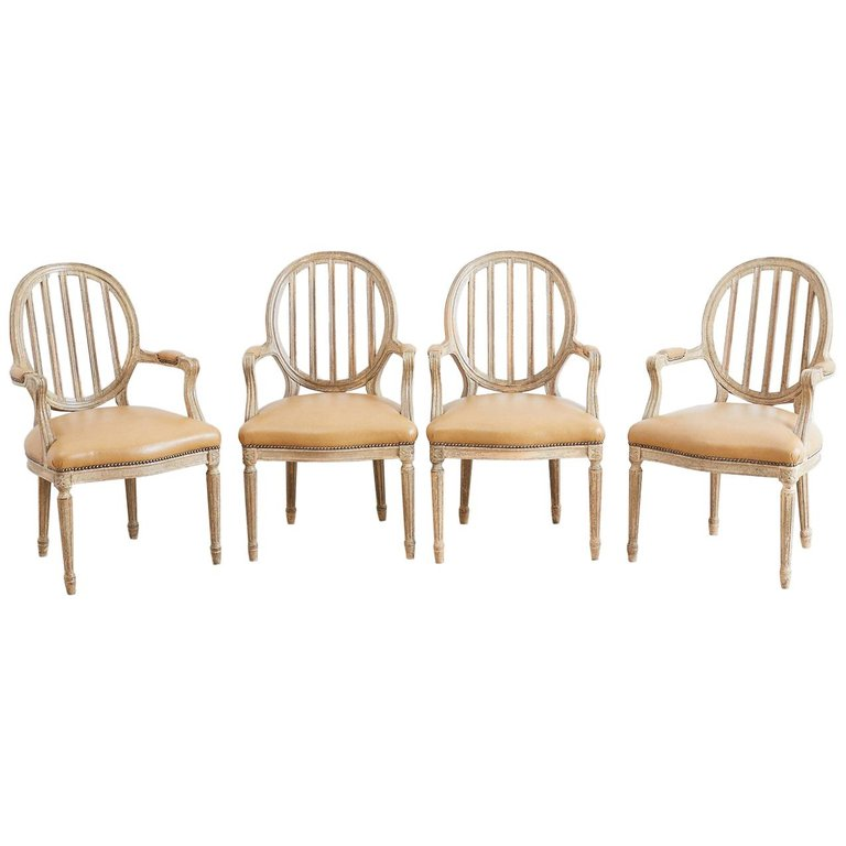 Set of Four Louis XVI Lacquered Dining Chairs