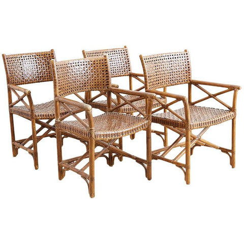 McGuire Style Woven Leather Rattan Dining Chairs